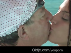 naughty redhead teeny engulf old cock in the pool