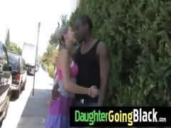 fresh dark stepdad punishes sexy daughter for