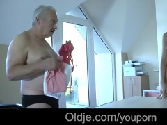 old rich grandpa bonks his juvenile dummy maid