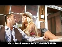 blond cowgirl with big scoops & ass copulates