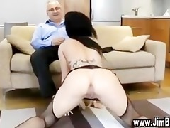 busty slut in stockings gets fucked