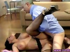 mature guy fucks a sexy younger stocking slut
