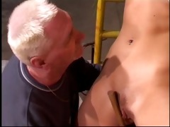 blonde wench receive drilled by an old stud
