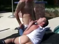 dad fucks younger in pool