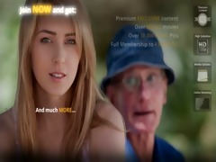 dumped blond fucks old man to calm down her horny