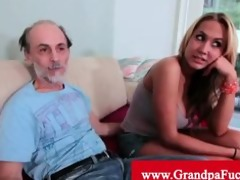 grandad getting a tit slap from a blond floozy