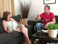 mother-in-law rides young rod and wife comes in