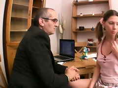 beautiful sweetheart is sucking teacher\s schlong