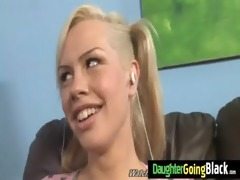 youthful daughter screamer copulates a black jock