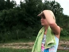 golden-haired playgirl gives head in the nature