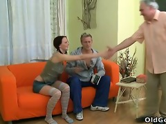 youthful babe screams out as an old dude gives