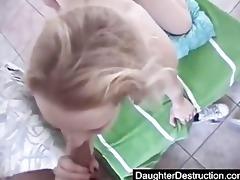 cute oriental daughter screwed hard