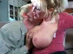 teacher with large boobs on sofa