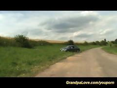 grandpa copulates juvenile teen in nature