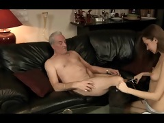 charming girl acquires team-fucked by a old,