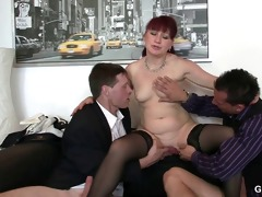 office wench swallows dicks