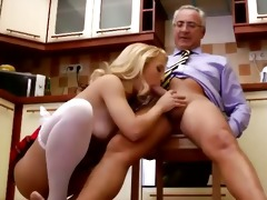 young euro chick sitting on old mans dick