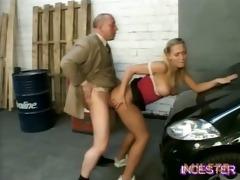 dad fucked hot daughter in garage