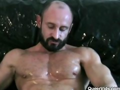 dad jerking off and getting a blowjob