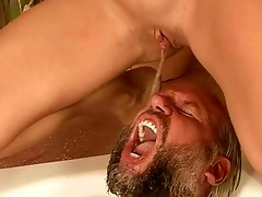 grandpa and youthful beauty pissing and fucking