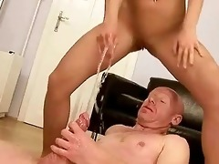grandpa fucking and peeing on young cutie
