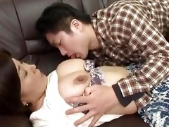 drunk japanese mother gets abase by her chap
