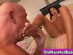old guy licks hawt younger honey