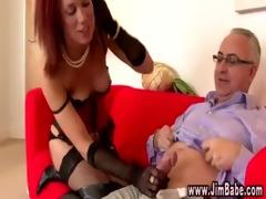 posh redhead in underware gets sexy