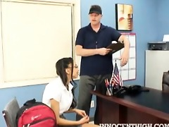 lovely looking teen unzips the principals pants