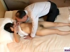 oriental girl stimulated with vibrator fingered