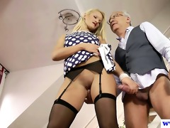 youthful euro floozy plays with old mans dick