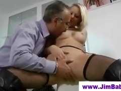 blond in boots fucking an old man