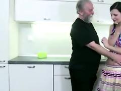 concupiscent slim girl lets old man seduce her,