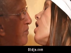 old dude pumps in ass a young slutty cleaning lady