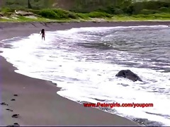 hawaiian bikini playgirl on the beach masturbating