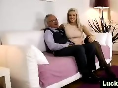 young gal in nylons poses for older british man